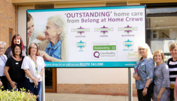 Belong at Home Crewe team celebrate receiving the highest rating of 'outstanding' by the Care Quality Commission