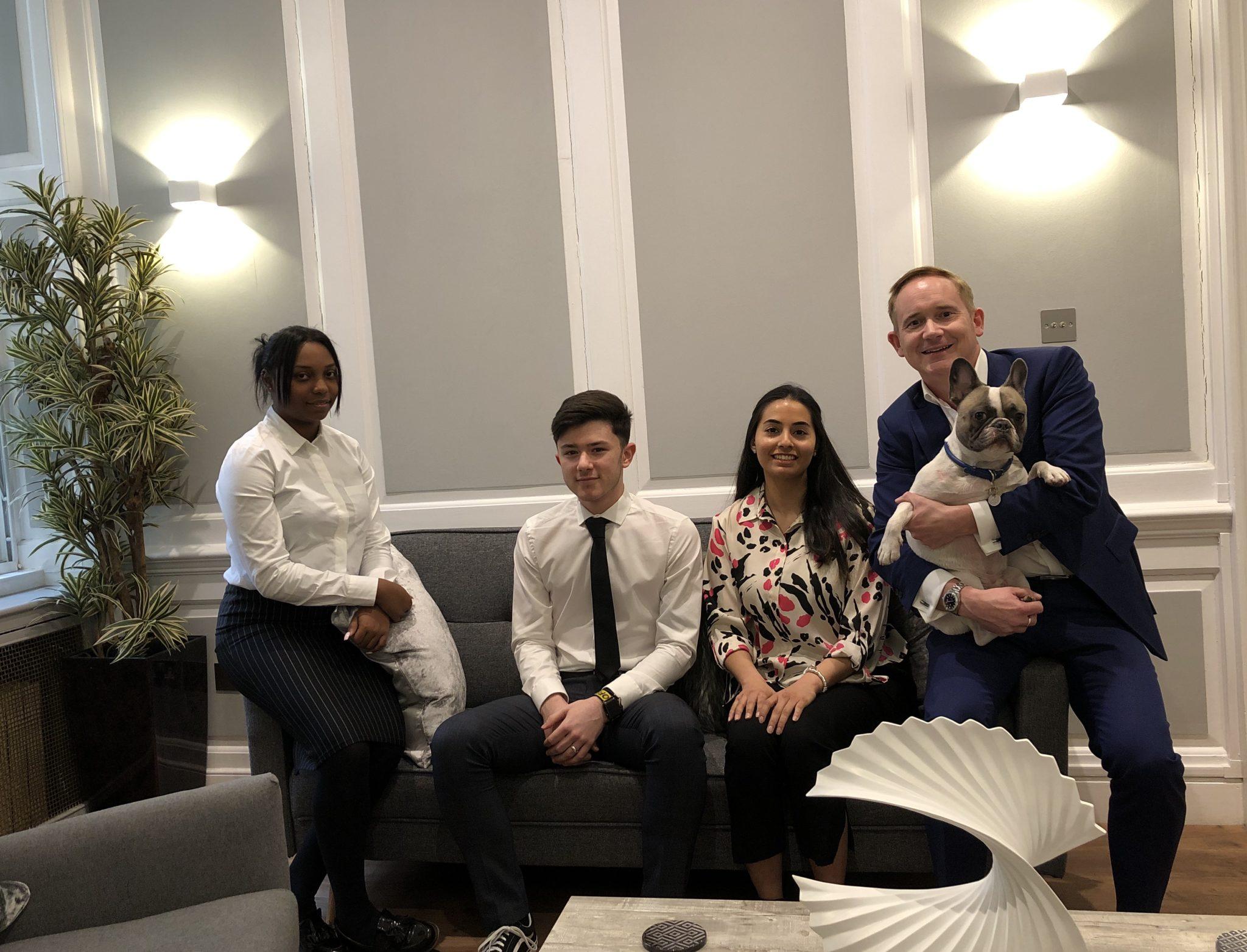 L-R Nicole Antoine, Basil Herr, Esraa Akar, Bryan McMorrine and companion dog Isaac McMorrine