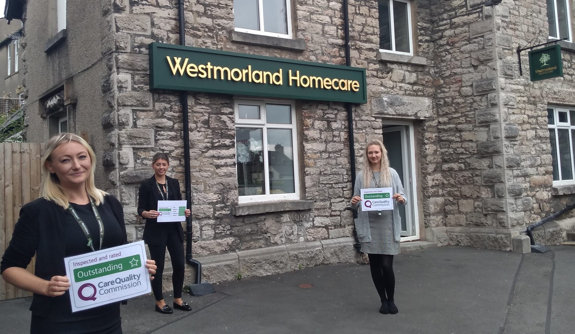Westmorland Homecare staff outside the new office at Grange-over-Sands