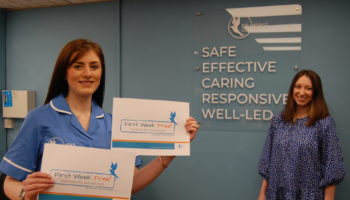 Georgia McNally Care Coordinator for Shrewsbury (in Bluebird Care tunic) Laura Allen, Lead Supervisor for Shropshire.