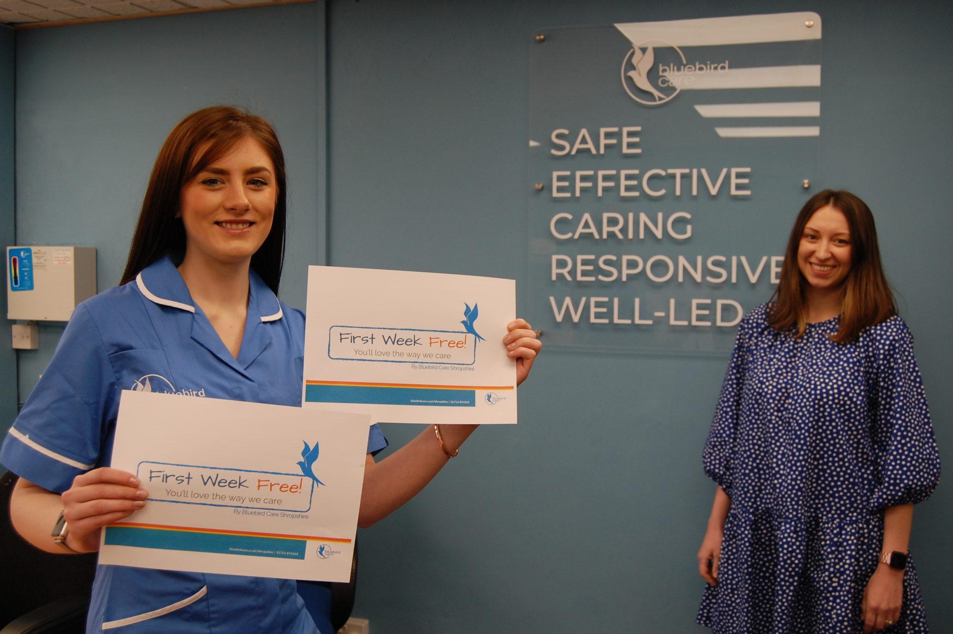 Georgia McNally Care Coordinator for Shrewsbury (in Bluebird Care tunic) Laura Allen, Lead Supervisor for Shropshire.