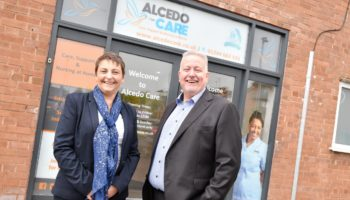 Left to right Jo and Andy Boardman outside the new Chester office